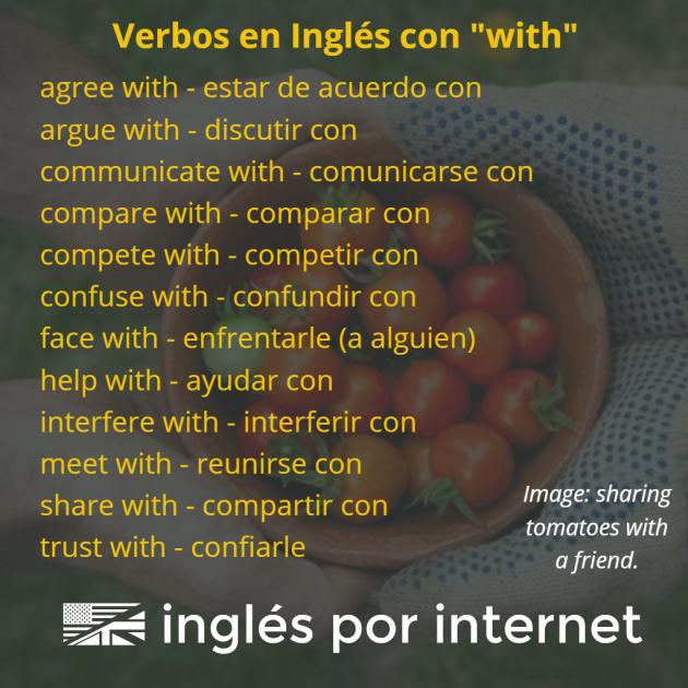 verbos en inglés con la preposición with